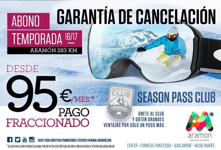 Contrata la garantía de devolución y te devolvemos el dinero del forfait de temporada si no puedes venir a esquiar