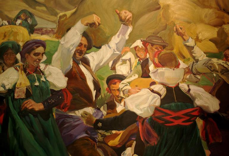Algunas de las escenas pirenaicas de Sorolla han viajado a Estados Unidos, como la que refleja a un grupo de ansotanos con el traje típico, que fue un encargo de la Hispanic Society de Nueva York para decorar una sala de su sede con escenas de las distintas regiones españolas.