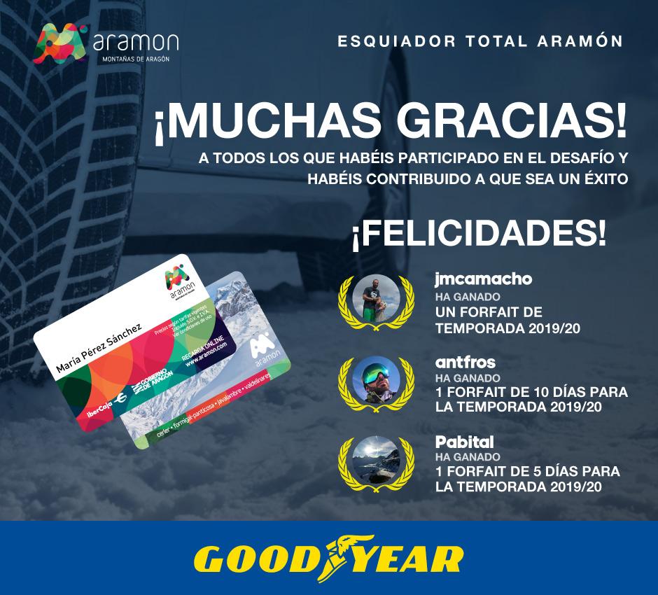 Ganadores desafíos APP Aramón 2018/2019 Goodyear