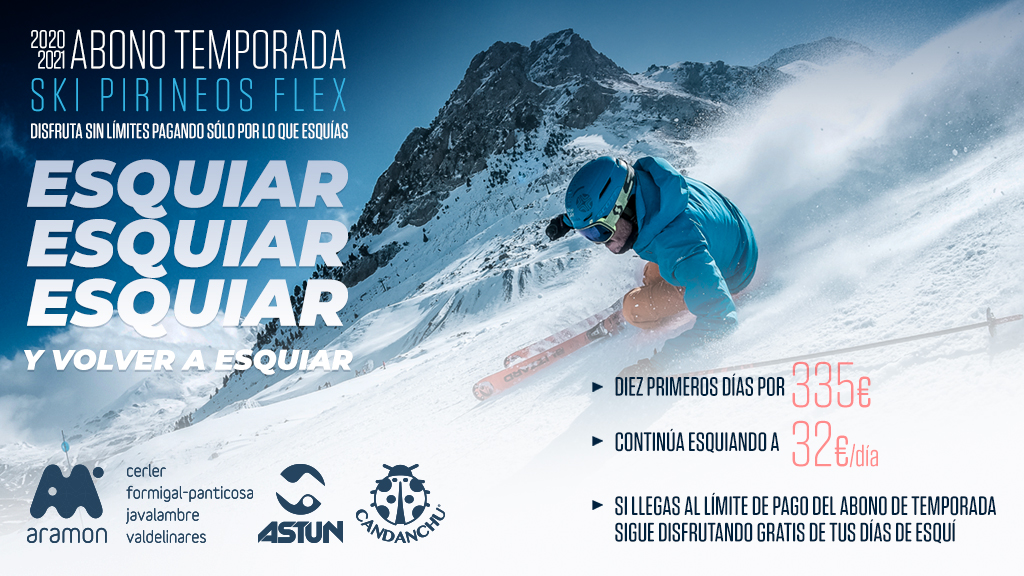 Ski pirineos flex. 10 días válidos dos temporadas de esquí